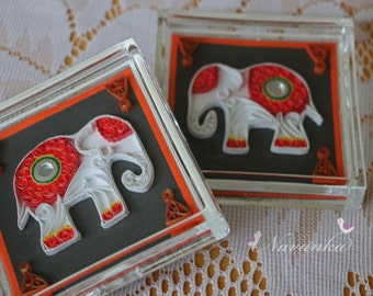 Paper Quilled Elephant Coasters , Set of two  coasters with Indian Elephant, Paper Anniversary, Valentines Day, Wedding, Housewarming gift