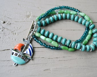 SAILBOAT BRACELET Turquoise Green and Teal Three Strand Toggle Charm Bracelet