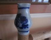 salt glazed pottery pitcher..blue design ,,pottery