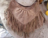 fringed leather purse, shoulder bag, mexico,,soft leather