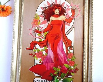 The Woman in Scarlet/ Scarlet Witch/ Art Noveau