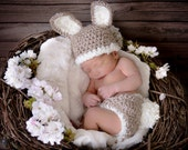 Baby Bunny Hat and Diaper Cover Set-Newborn Easter or Halloween Costume Photo Prop