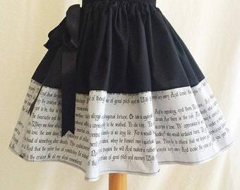 Shakespeare, Hamlet Skirt, Literature Clothing By Rooby Lane