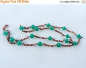 MOVING SALE Half Off Vintage Jade Green Beaded Glass and  Copper Metal Chain