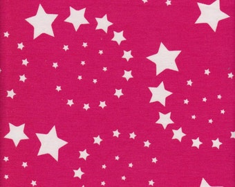 Swirl Stars on Fuchsia Cotton Lycra Jersey