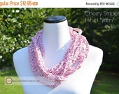 ON SALE Infinity Scarf {hand crocheted} Cherry Stripes