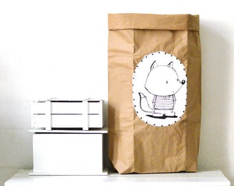 Hand painted paper storage bag Fox Sack Paper bag Reuseable paper bag Kraft paper bag Storage of toys Strong storage sack