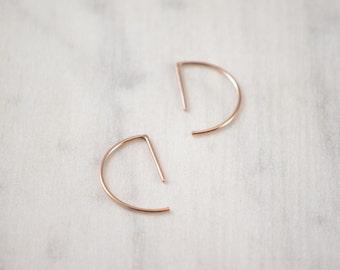 Line hoop earrings Simple in silver or vermeil rose gold 18K // minimalist hoop earrings // casual earrings // geometric earrings // SM007