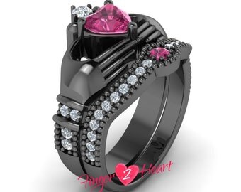 2.95 Ct Pink Sapphire Claddagh Ring Set 925 Sterling Silver Engagement Ring Set 10K Black Gold Finish Wedding Ring Set Friendship and Love