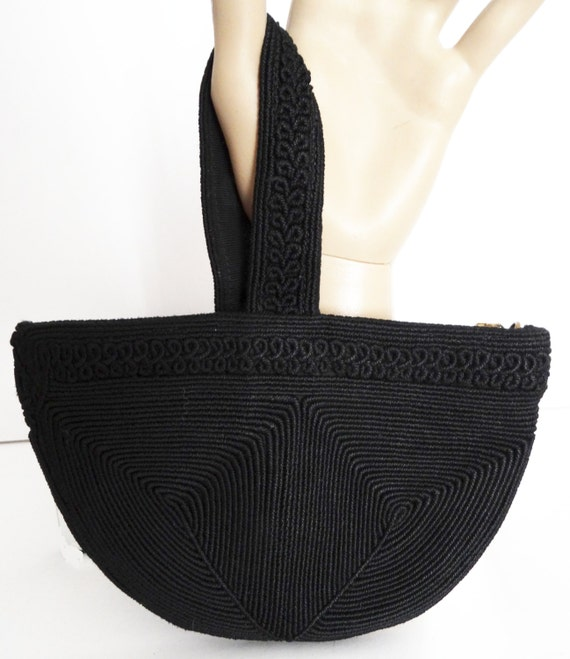 Retro Handbags, Purses, Wallets, Bags Vintage 1930s Purse//30s Handbag//Black//Corde $49.99 AT vintagedancer.com
