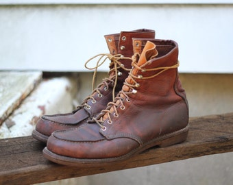 Wonderful super rustic 1960s-70s tanned steer hide hunting / tromping boots by Red Wing - USA Made, size 13 narrow - check measurements