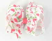 Summer Hair Bow - Girls Hair Bows - flamingo hair bow - 4 inch hair bows - hair bows for girls - big hair bow hairbow flamingo hair clip