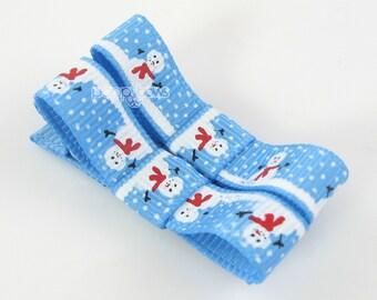 Christmas Hair Clips, pair of blue hair clips, baby hair clips, snowman barrettes, non slip hair bows, girls hair clips, at-2-ltb-snowm