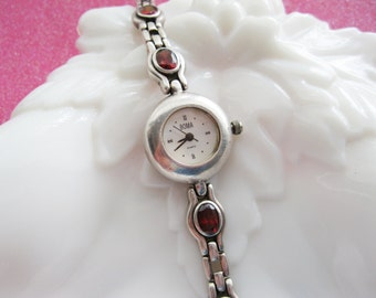 Sterling and Garnet Boma Watch Womens Bracelet