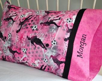 Girls Soccer Pillowcase Standard Cotton Handmade Embroidered