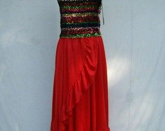 Costume Halloween Disco Diva 70s Sequin Dress S M