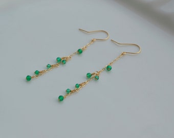 Green Jade *14kgf earrings handmade jewelry