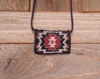 Native beaded pendant,  Navajo necklace