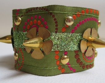 Cuff Bracelet Olive Green Gold Spikes Studs with Vintage Rhinestone Element