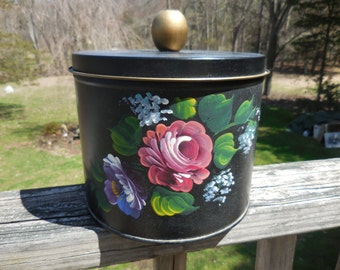 Vintage 1950s to 1960s Nashco Products Black With Pink Roses Blue and Purple Flowers Hand-Painted New York Tin/Canister Storage