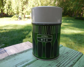 Vintage Olive/Avocado Green/Black/White Thermos Small Soup/Coffee 1970s 10oz King-Seeley Manly Color Soup on the Go 1971 Plastic and Metal
