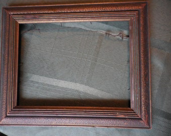 Vintage Wood Frame No Glass Green/Gold 1940s to 1950s Horizontal Hanging