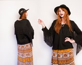 Vintage 1960s Top - Fringe Black Knit Tunic Hippie Boho 70s - MEdium