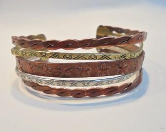 Vintage BRUTALIST Embossed Cuff Bracelet / Bangle Brass /Copper / Silver Tone Boho Retro Runway
