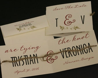 Tying The Knot, Save The Date, Initials, Wedding Announcement, Christian, Folded, French, Vintage, Shabby Chic, Unique, Romantic, Twine