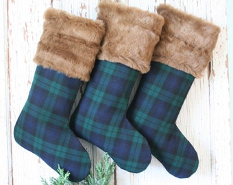 Black Watch Tartan Wool CHRISTMAS Stocking with Faux Fur Cuff