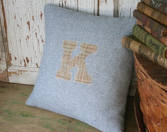 Monogram Pillow Cover, Spring Wool Tweed, Recycled, Light Blue, Gray 12 or 14 Inch - FREE SHIPPING