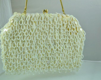 Vintage 1960s Beaded Wedding or Evening Handbag Convertible Purse Beaded and Sequined Bag Handmade in Hong Kong Birthday Gift for Her