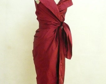 Maria Severyna Burgundy Dupioni Wrap Dress