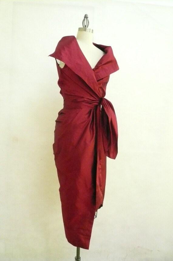Maria Severyna Burgundy Dupioni Wrap Dress