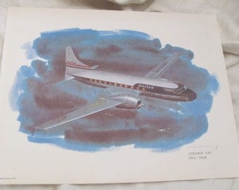 Vintage United Airlines Print Poster - Convair 340  1952 - 1968 - Galloway