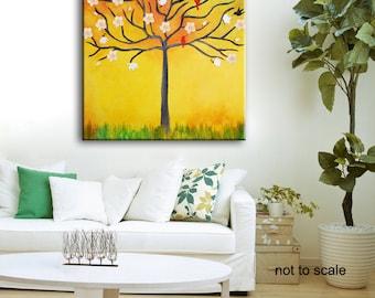 Original Tree Painting, Birds and Flowers painting, large tree,abstract painting, Tree large painting, Magnolias tree,Birds in tree,red blue