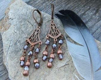 Bohemian earrings chandelier earrings boho style jewelry copper gypsy earrings hippie earrings dangle earrings bohemian jewelry