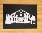 Nativity Chalk Art Card - Blank 5x7 Greeting Card with Envelope
