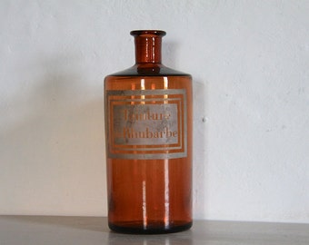 LARGE Antique French Amber Glass Apothecary Jar, Pharmacy Bottle. Mouth blown. Etched Glass Label