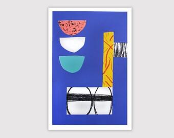 "Screenprint handmade original 40 X 60 cm blue - ...  / ""En cours de livraison…"""