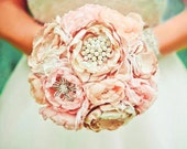 Fabric flower brooch bouquet . Vintage Wedding . Optional feather trim . Pink ivory champagne peony roses in ANY COLOR