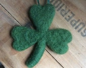 Needle Felted Green Shamrock Ornament
