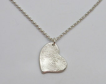 Silver Fingerprint Heart Pendant or Necklace, Fingerprint Jewelry, Fingerprint Heart, Heart Fingerprint, Fingerprint Charm, Personalized