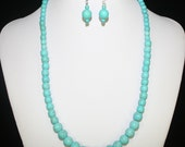 "Necklace & Earring Set, 20"" long, Blue Turquoise Beads"