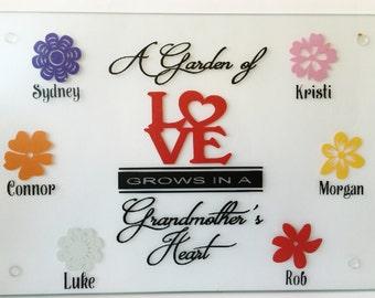 Mom/Grandma/Grandpa Gang Style Glass Flower Design Cutting Boards