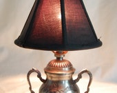Antique Style Silver Sugar Bowl Shape Lamp with Black Fabric Shade