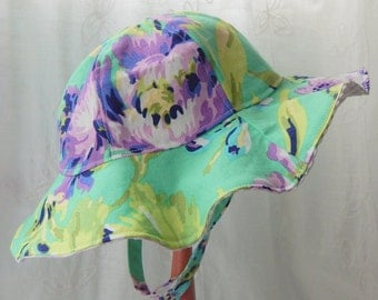 Baby Girl Sun Hat 6-12 Month, Mint and Purple Baby Sun Hat