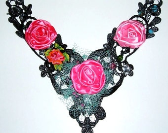 Lace Applique Collar Necklace Beaded with Handmade Fabric Flowers Vintage Look
