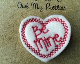 White Red Be Mine Heart Valentine's Day Felt Hair Clip Clippie Baby Toddlers Girls