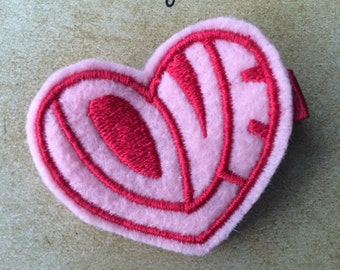 PINK and RED Love Heart Valentine's Day Felt Hair Clip Clippie Baby Toddlers Girls
